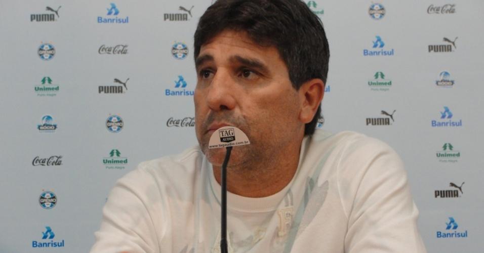 Renato Gaúcho concede entrevista coletiva no Olímpico