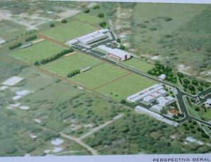 A planta de como ficará o Ninho do Urubu após a conclusão das obras. 80% pronto no fim de 2012