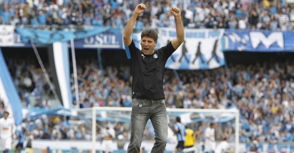 Renato Gaúcho comemora segundo gol do Grêmio ante Cruzeiro