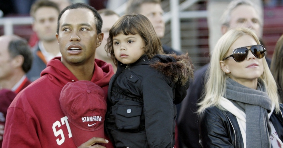 Tiger Woods com a filha e a mulher, Erin