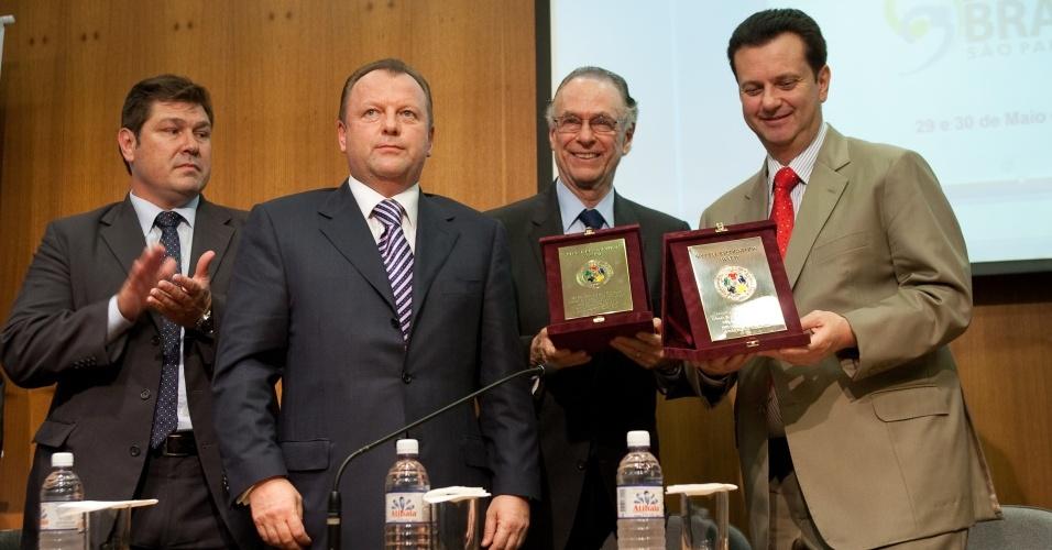 Aurélio Miguel, Marius Vizer, Carlos Nuzman e Gilberto Kassab no lançamento da COpa do Mundo de judô em São Paulo
