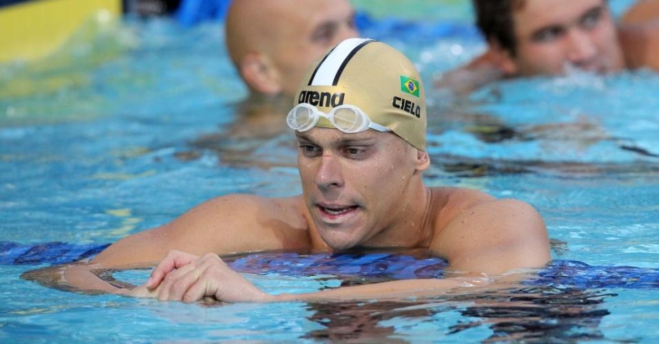 Cesar Cielo fica decepcionado ao perder a medalha de ouro nos 50 m livre do Pan-Pacífico
