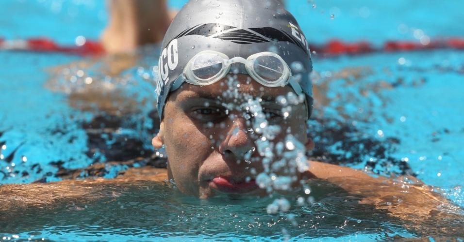 César Cielo durante a prova dos 50 metros livre, no parque aquático Maria Lenk