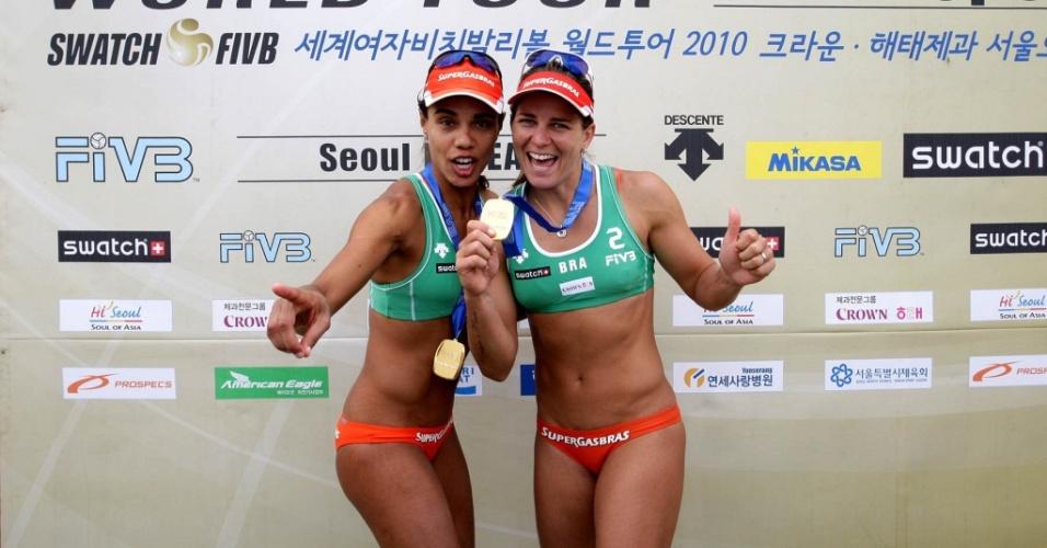 Juliana/Larissa conseguiram a medalha de ouro na etapa de Seul do Circuito Mundial