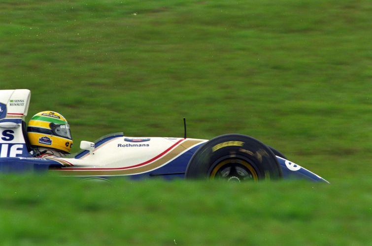 Ayrton Senna durante os treinos para o GP Brasil de F1