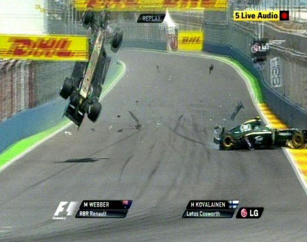 Webber tentava ultrapassar a Lotus de Kovalainen