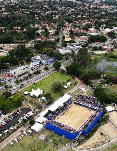 Vista da arena montada na região da represa Guarapiranga, em São Paulo