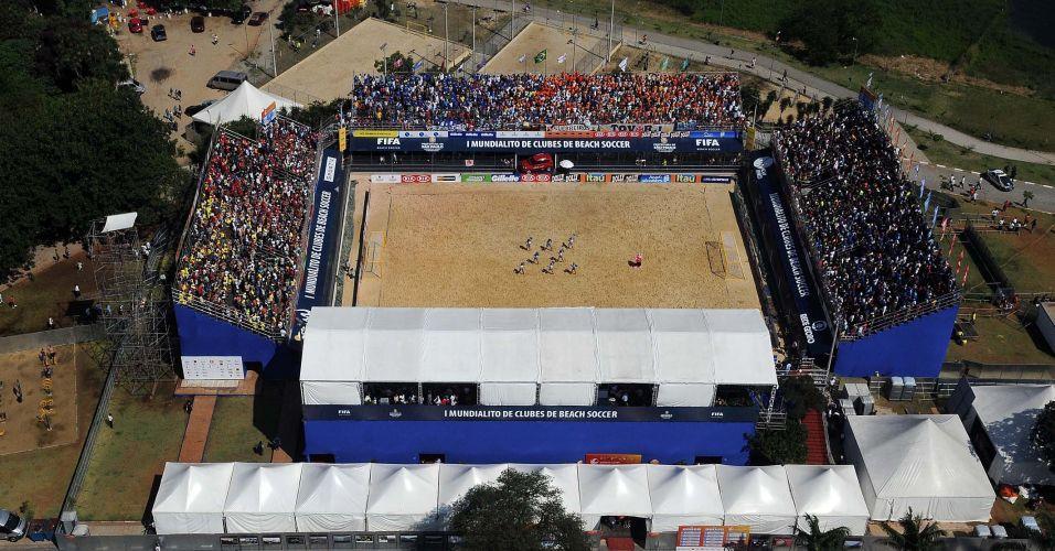 Imagem aérea da arena próxima à Represa de Guarapiranga, em São Paulo