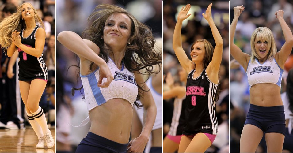 Muita alegria e descontração é a marca das dançarinas do Utah Jazz, que foram eliminadas na primeira rodada do torneio de cheerleaders promovido pela NBA