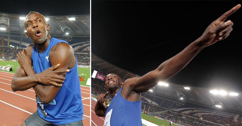 Preparação e pose: Bolt satisfaz os fotógrafos e faz o movimento com que se consagrou após os títulos e recordes nas Olimpíadas e no Mundial