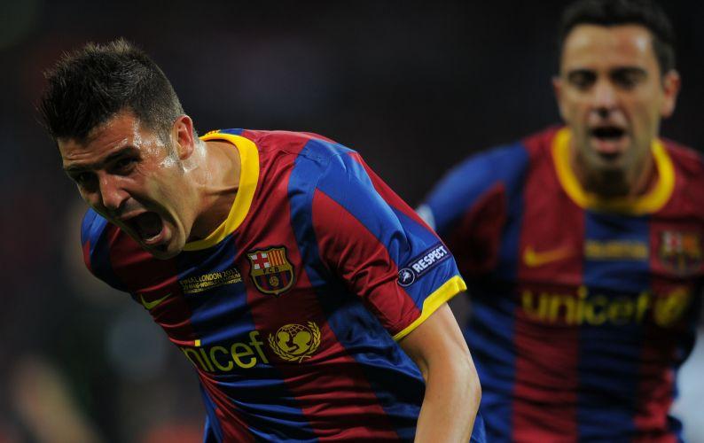David Villa comemora o seu gol na decisão, o terceiro do Barcelona contra o Manchester United