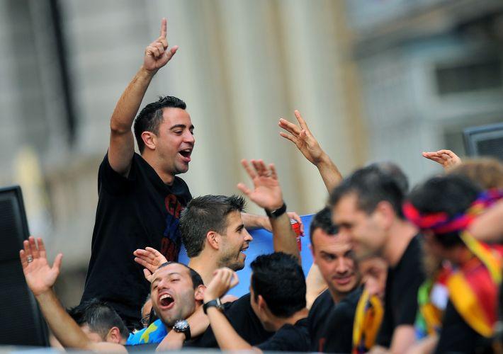 Xavi era um dos mais animados na festa do Barcelona