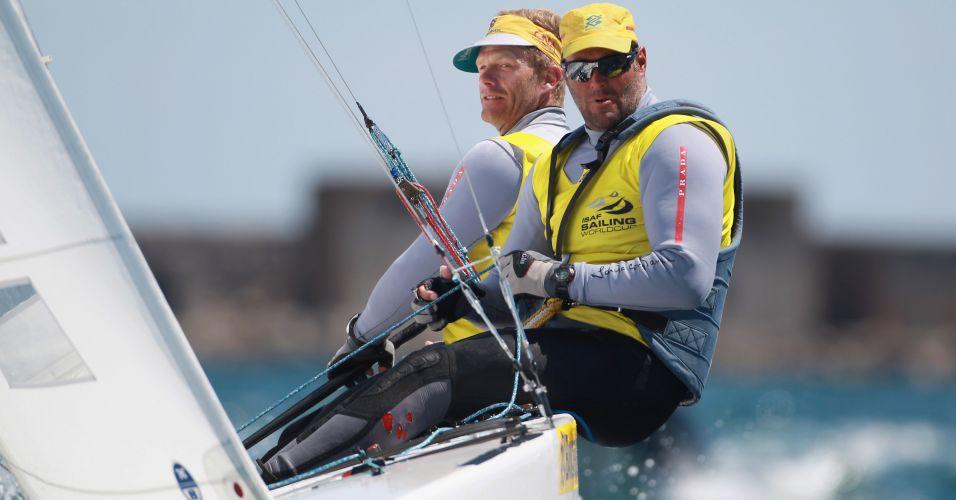 Robert Scheidt e Bruno Prada, do Brasil, conquistam o ouro na Copa do Mundo de Londres, na classe star, com o terceiro lugar na regata de Weymouth, Inglaterra
