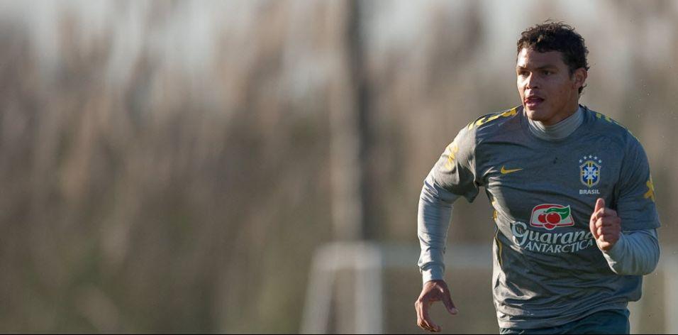 Thiago Silva, do Milan, realiza treino física no trabalho da seleção em Los Cardales