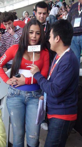 Larissa Riquelme, musa da Copa de 2010, está na Argentina para mostrar sua torcida pelo Paraguai, só que sem a mesma forma de antes.