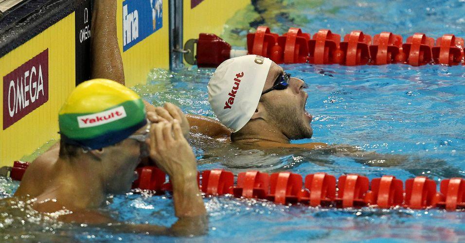 Thiago Pereira ficou de fora das semifinais dos 100 m costas ao fazer o 18º tempo das eliminatórias, assim como Guilherme Guido, que foi o 27º
