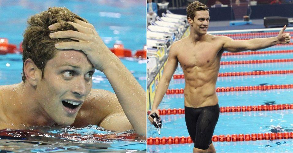 Luca Dotto - italiano de 21 anos conquistou a prata nos 50 m livre, prova vencida pelo brasileiro Cesar Cielo