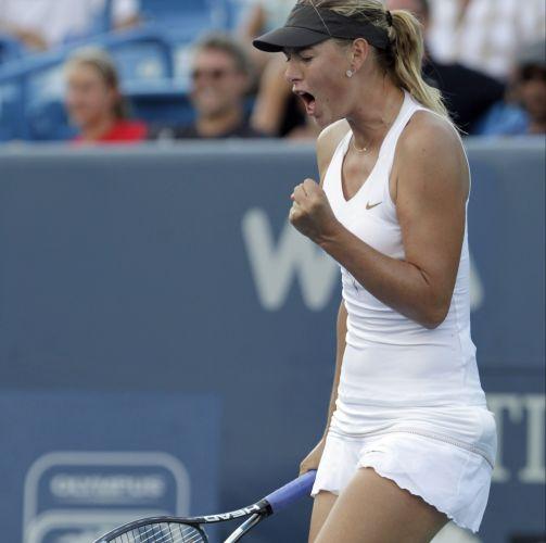 O último grito de Sharapova na partida contra Jankovic foi o mais saboroso, em comemoração pela confirmação dotítulo do Torneio de Cincinnati