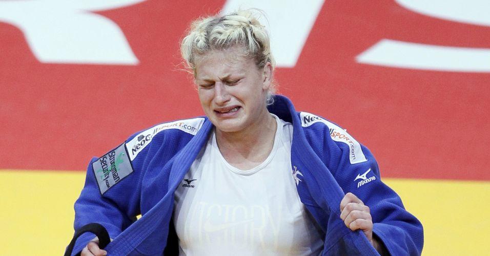 O choro de Kayla Harrison, dos EUA, pode confundir: nessa foto, ela tinha acabado de conquistar a medalha de bronze da categoria até 78kg, mas as lágrimas são de tristeza: campeã em 2010, ela perdeu na semifinal, segurou a emoção para conquistar o bronze, mas desabou ao garantir sua medalha