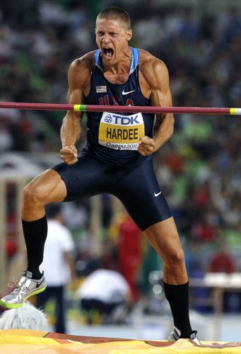 O norte-americano Trey Hardee vibrou muito após a sua participação na prova do salto em altura do decatlo