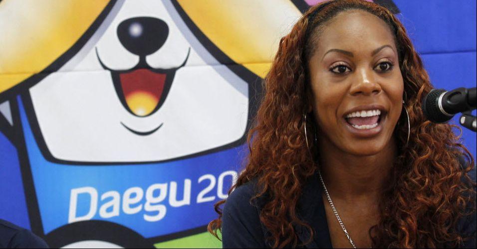 Norte-americana Sanya Richards-Ross, dos 400 m rasos, concede coletiva antes do Mundial