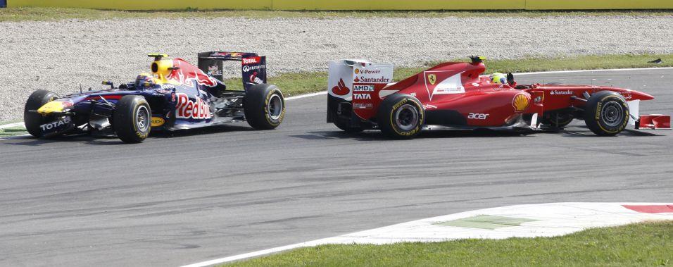 Mark Webber danificou a parte dianteira de sua Red Bull ao tocar em Felipe Massa durante disputa por posição. O brasileiro perdeu várias posições, mas terminou o GP da Itália em sexto