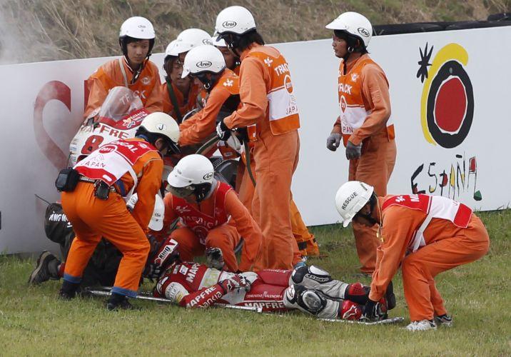 Acidente de Barbera preocupou médicos na etapa japonesa da MotoGP.