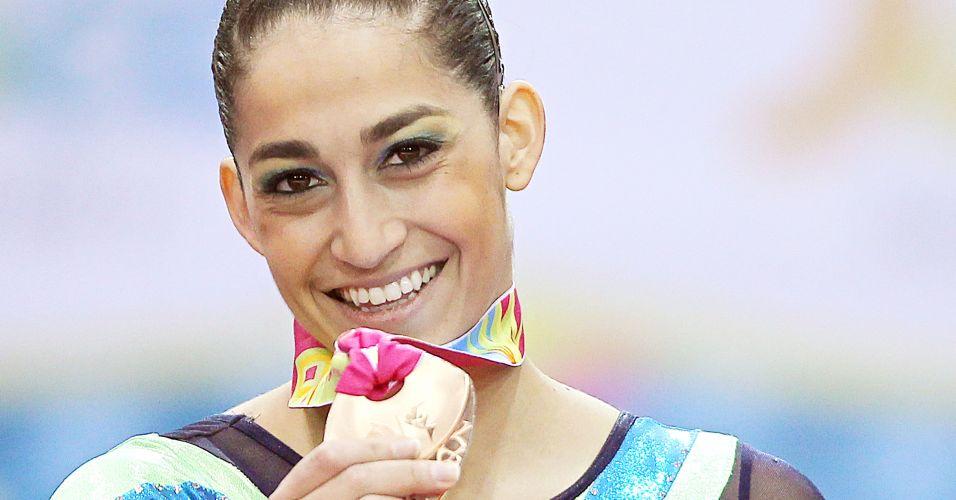 Daniele Hypolito conquista a medalha de bronze na trave nas finais por aparelhos da ginástica artística