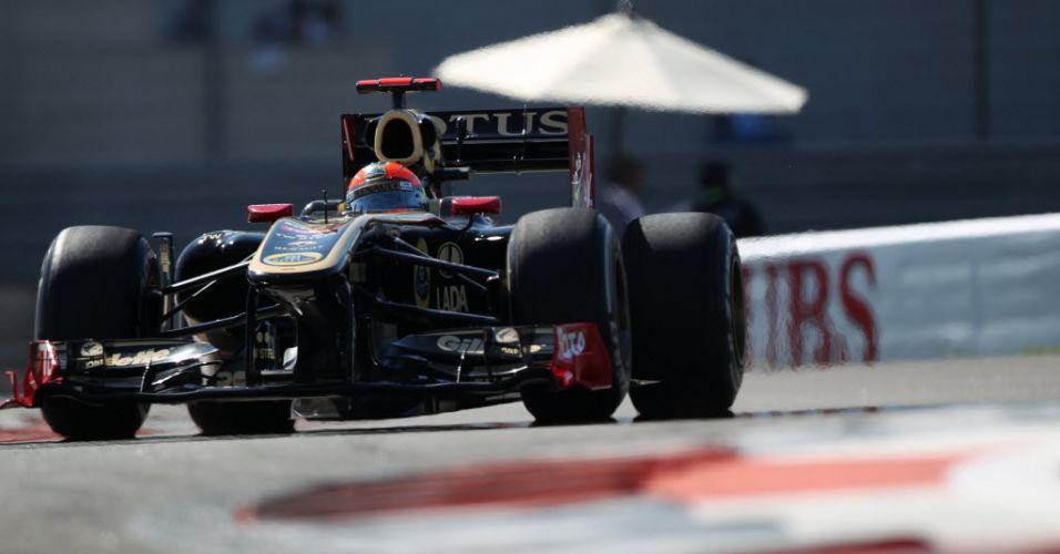 Romain Grosjean pilota o carro de Bruno Senna na segunda sessão de treinos livres para o Grande Prêmio dos Emirados Árabes