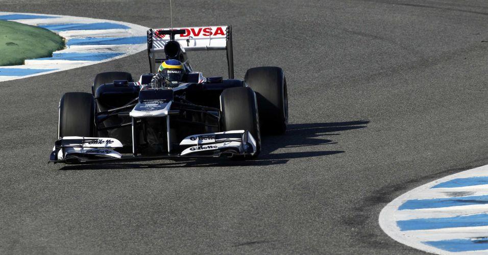 Bruno Senna pilota a Williams pela primeira vez no circuito de Jerez de la Frontera