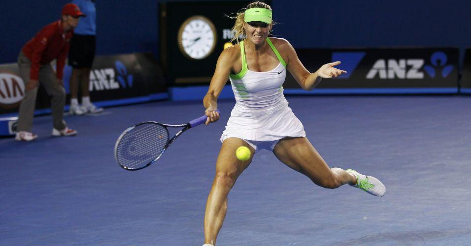 Sharapova até que se esforçou mas não conseguiu evitar a derrota para Victoria Azarenka na final do Aberto da Austrália.