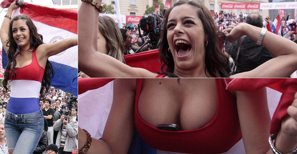 Larissa Riquelme, modelo que comandou a torcida paraguaia em Assunção, apareceu sempre com o celular guardado entre os seios e ganhou até a capa da Playboy brasileira