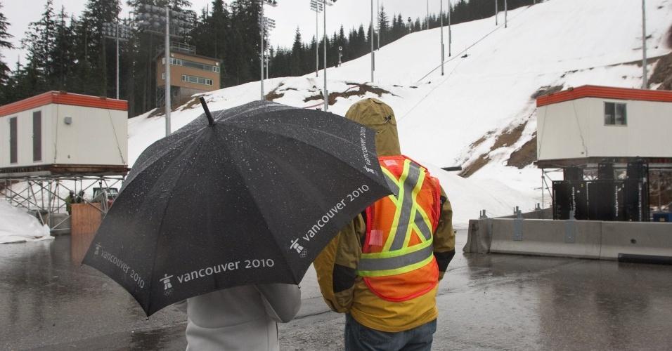 A organização dos Jogos de Inverno fechou etação de esqui para garantir as condições de disputa dos Jogos de Inverno