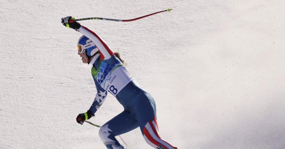 Lindsey Vonn comemora após decida de downhill no supercombinado do esqui alpino