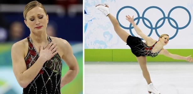Canadense Joannie Rochette chora após a disputa do programa curto da patinação; mãe morreu dois dias antes
