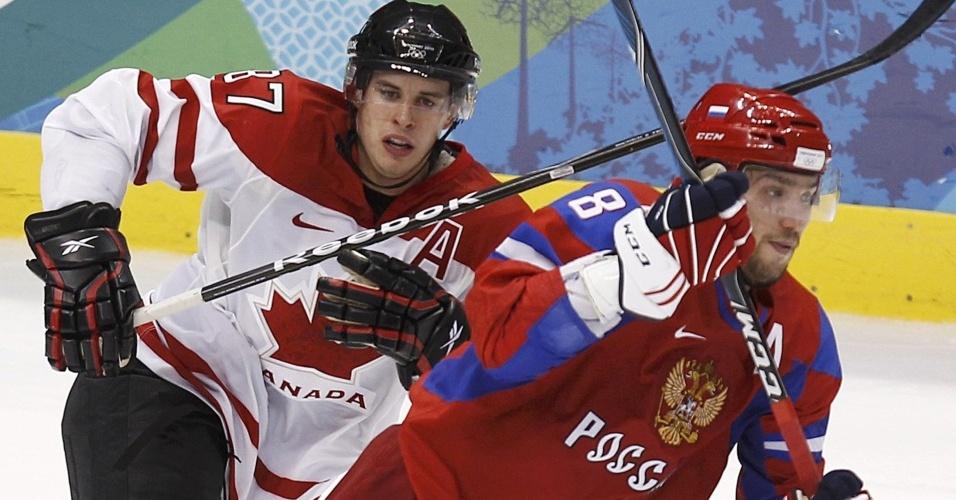 Sidney Crosby venceu o duelo com Alex Ovechkin, da Rússia, nas quartas de final do hóquei masculino