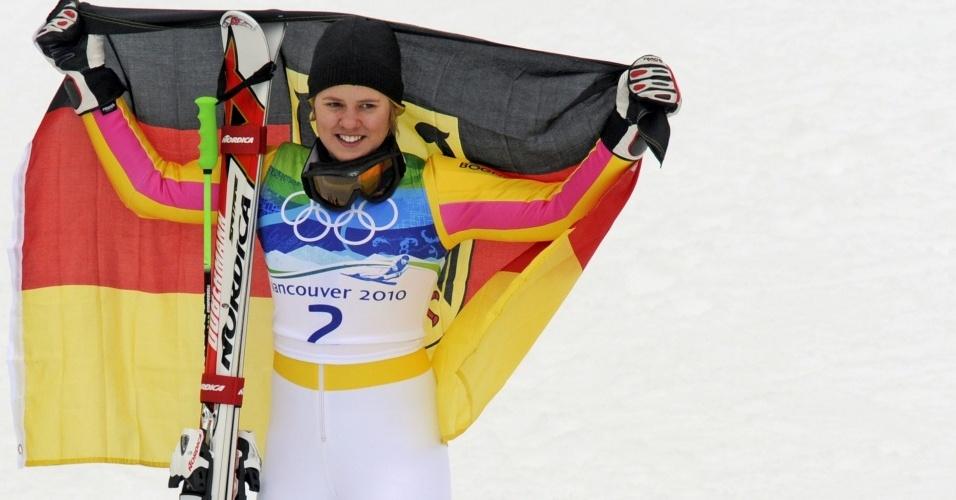 Viktoria Rebensburg, da Alemanha, na conquista de seu ouro olímpico no slalom gigante