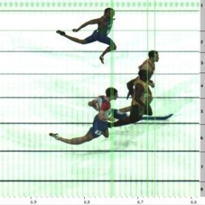 Photofinish da prova de Vicente Lenílson (acima, na raia 3), que venceu por pouco o quarto colocado