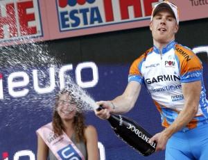 Tyler Farrar comemora a vitória na décima etapa <br>do Giro D'Itália, sua segunda nesta edição da volta