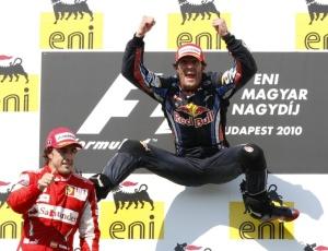 Webber comemora vitoria no GP da Hungria