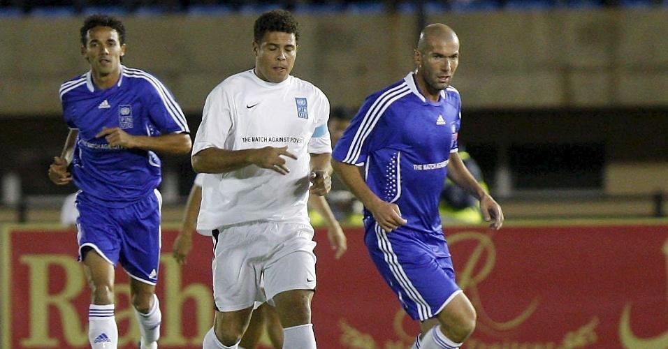 Em 2010, Ronaldo e Zidane atuaram juntos pela primeira vez na partida contra a pobreza