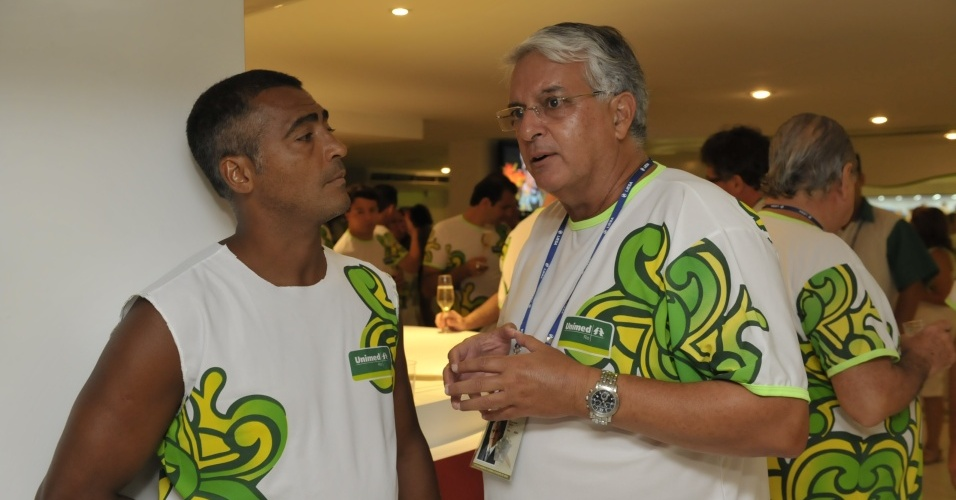 Romário e Celso Barros no camarote da Unimed, no Carnaval do Rio