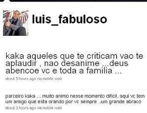 Luis Fabiano dá força para Kaká em seu Twitter e critica postura dos torcedores do Real Madrid