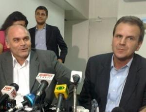 Presidente do Botafogo, Maurício Assumpção, e prefeito do Rio, Eduardo Paes, na reunião desta 6ª