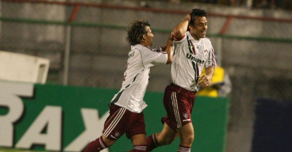Fred comemora o seu gol na partida do Fluminense contra a Portuguesa