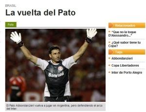 Jornal argentino destaca a volta de Abbondanzieri à Argentina, após deixar o Boca para jogar no Inter