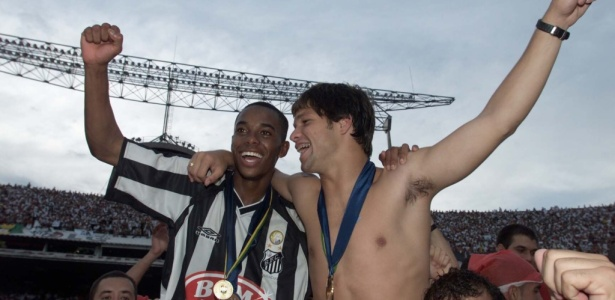Juntos, Robinho e Diego faturaram os Brasileiros de 2002 e 2004 pelo Santos