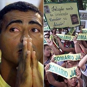 Montagem de Romário chorando em 2002 e faixas pedindo sua presença na Copa