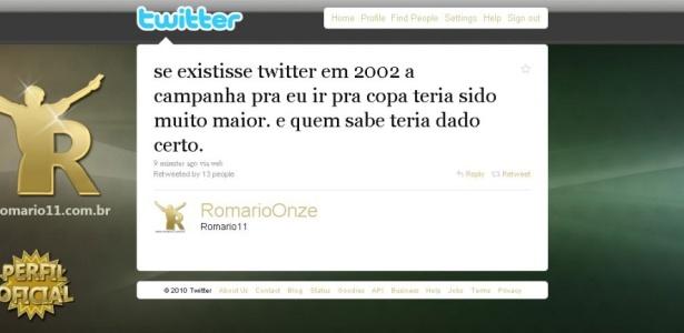 Romário inicia campanha para que seja convocado por Dunga
