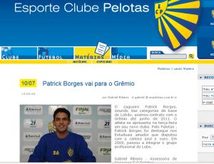 Site do Pelotas divulga a negociação de Patrick